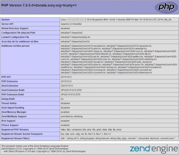 VPS Phpinfo